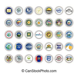 Set of vector icons. Seals of California state, USA.