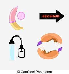 Set of vector icons sex shop, toys for vrolyk, role-playing