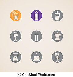 set of vector icons with beverages