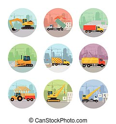 Set of Vector Icons with Construction Machines