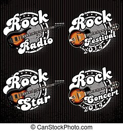 set of vector icons with guitars an