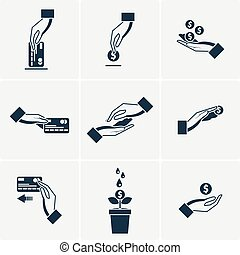 Set of vector icons with hands holding the coins and credit cards