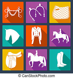 Set of vector icons with horse equipment. Equine icons, Horse riding symbols. High quality equestrian illustration.