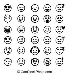 Set of vector icons with smile