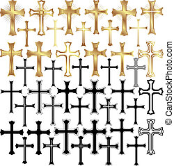 cross - set of vector illustration - gold and black crosses
