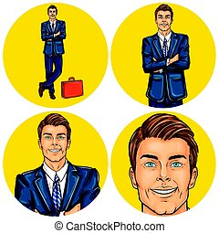 Set of vector illustration, mens pop art round avatars icons