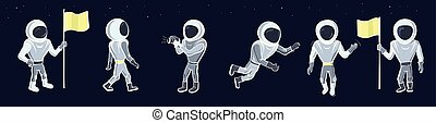 Set of vector illustration of astronaut