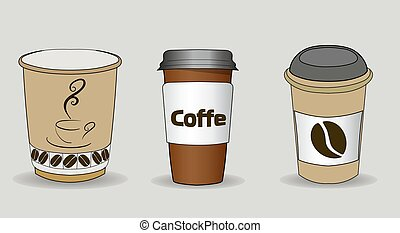 Set of vector illustration of coffee cups with cardboard sleeve. Full cup of coffee, latte, espresso, or cappuccino with foam on top.