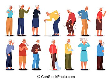 Set of vector illustration of old people with physical ...