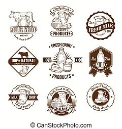 Set of vector illustrations, badges, stickers, labels, logo, stamps for milk and dairy products