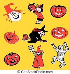 halloween theme cartoon - set of vector illustrations....