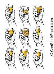 Set of vector illustrations  hands holding stemware