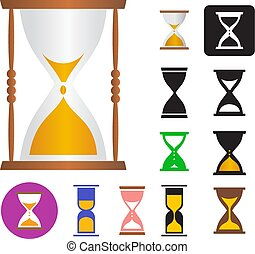 Set of vector illustrations of an hourglass