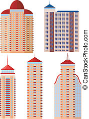 Set of vector illustrations of apartment buildings