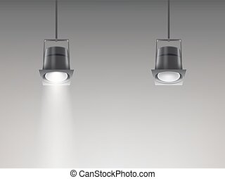 Set of vector illustrations of ceiling lamps.