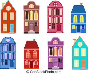 Set of vector illustrations of colorful houses in the European style.