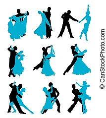 set of vector illustrations of dancing couples. black and...
