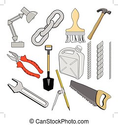 set of vector illustrations of different tools