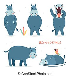Set of vector illustrations of isolated cartoon characters. Cute hippo. Baby stickers for design