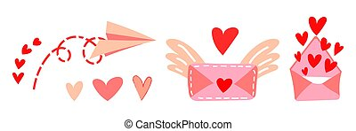 Set of vector illustrations of love messages for Valentine's Day. Flying paper airplane, cute letter with wings, envelope with hearts open. Valentine's Day gift and element for logo, game, print, poster or other design project
