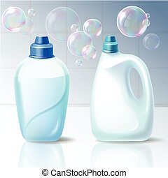 Set of vector illustrations of plastic containers for household chemicals.