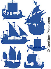 sailing ships - set of vector illustrations of silhouettes...