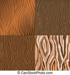 Set of vector illustrations of wooden texture