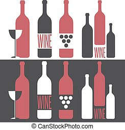 set of vector illustrations on wine theme