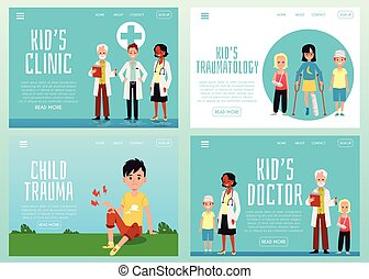 Set of vector illustrations with accident and injury kids a landing page templates