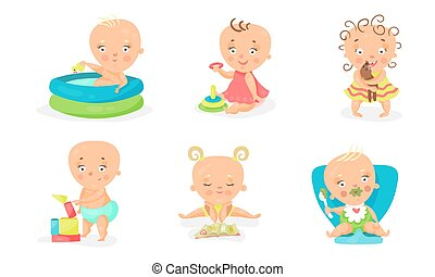 Set Of Vector Illustrations With Baby Children Different Occupations
