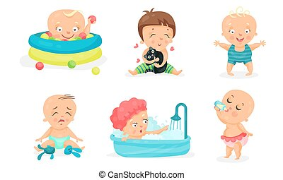 Set Of Vector Illustrations With Baby Toddlers In Different Children Actions