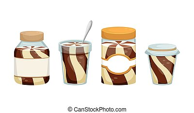 Set of vector illustrations with cans of chocolate paste. Dessert. Sweet snack.