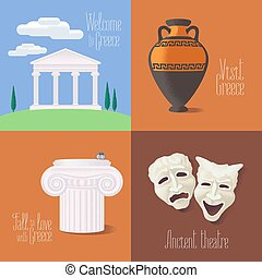 Set of vector illustrations with Greek touristic atractions