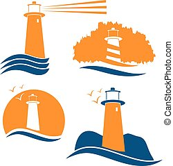 Set of vector illustrations with lighthouse