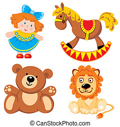 toys - set of vector images. Children's toys