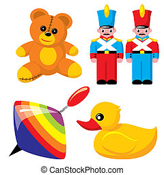 toys - set of vector images. Children\\\'s toys