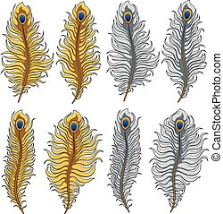 Set of vector images of gold and silver peacock feathers. Isolated objects.