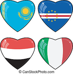 Set of vector images of hearts with the flags of Italy, Yemen, Cape Verde, Kazakhstan