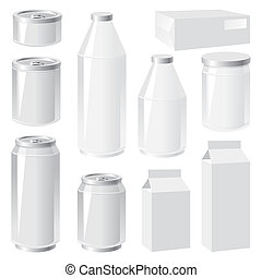 set of vector images of packing containers