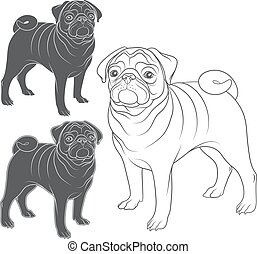 Set of vector images of pug. Isolated objects on a white...