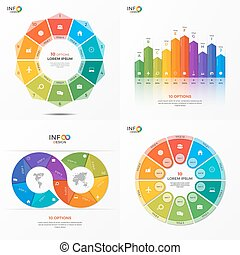 Set of vector infographic 10 options templates