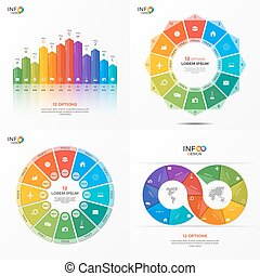Set of vector infographic 12 options templates