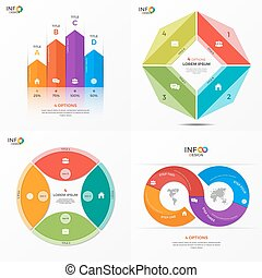 Set of vector infographic 4 options templates