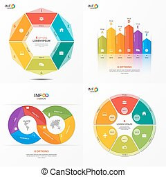 Set of vector infographic 6 options templates