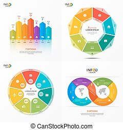 Set of vector infographic 7 options templates