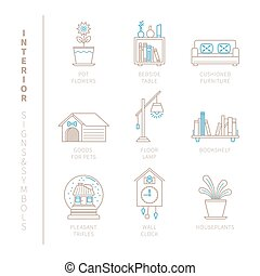 Set of vector interior icons and concepts in mono thin line...