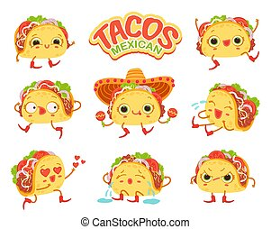Set of vector isolated cartoon illustration taco characters with different emotions