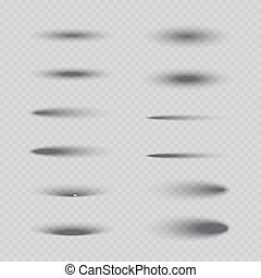 Set of vector isolated oval shadows.