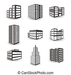 Set of vector isometric building icons isolated on white...