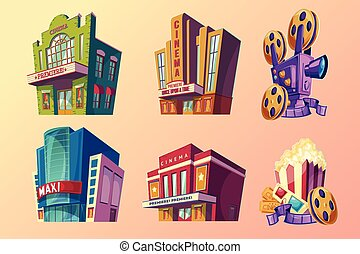 Set of vector isometric illustration of buildings cinema in cartoon style
